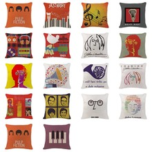 2017Gift Cushion Cover Retro Pope Horn Radio Pillowcases Sofaseat Rectangle Cotton Linen Home Office Furniture Music Kussenhoes