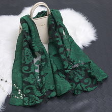 2017 New Arrivals Spring Women Scarves Shawls Organza Silk Scarf Fowers Embroidery Lace Scarf Luxury Brand Elegant Scarves hijab