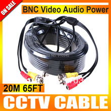 20M CCTV Cable Audio Video 65FT RCA Power AV Cable For CCTV Security Surveillance DVR System The Camera Cable