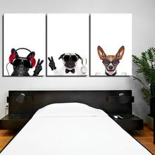 children Hang a picture Dog fashion Animal Europe Frameless Unframed Canvas print Oil Painting Spray art gift Home decor