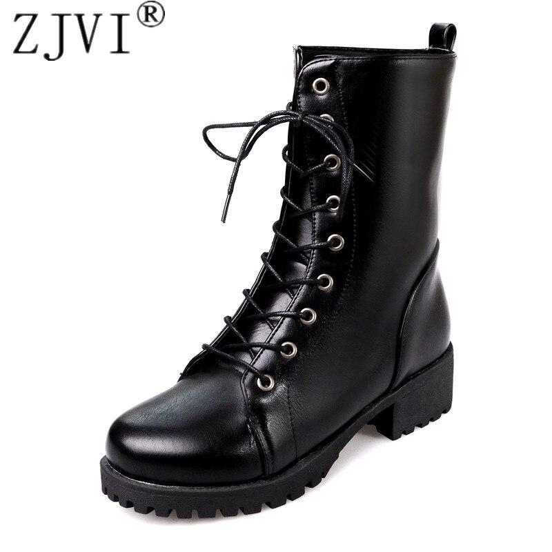 ZJVI Women mid calf snow boots autumn winter square heels female 2018 woman Lace up Black round toe Warm fur Platform Shoes<br>