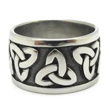 Simple Design Biker Black Silver Men's Stainless Steel Ring Vintage Totem Motorcyle Jewelry