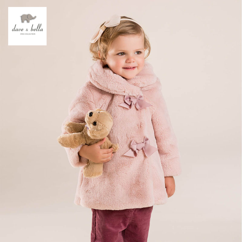 DB3966 dave bella  baby girl pink coat hooded outerwear<br><br>Aliexpress