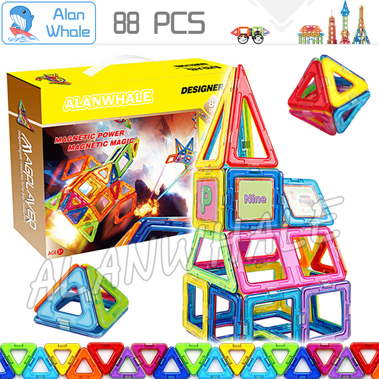 88Pcs Magnetic Toy Bricks 3D DIY Magnetic Model Kits Magnets Building Blocks Matched Toys Kids Birthday Gifts Family Power Set<br>