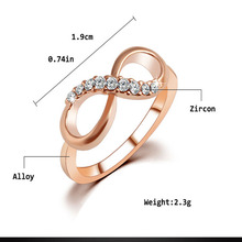 Luxury Letter 8 design Rhinestone Alloy Ring For Women Casual dress wedding party jewelry ring accessories anel anillo nail ring
