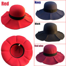 2016 New Fashion Winter Vintage Lady Wave Wide Brim Wool Felt Bowler Fedora Hat Floppy sombreros red/red wine/navy/black