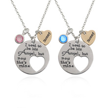 "Splicing Heart Mommy Necklace Blue Pink Crystal Family Necklaces ""I used to be angel now he's mine Mommy"" Mother's Day Gift"