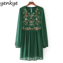 Autumn Vintage Women Floral Embroidery Dress O Neck Long Sleeve Green Dot Mesh Dress Brand Casual Mini Party Dresses(China)