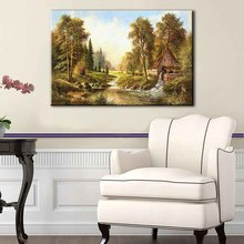 1 Pcs Mediterranean Trees Canvas Painting Landscape Live In the forest Painting Bathroom Decor