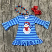 Christmas fall/winter baby girls snowman dress girls blue stripe ruffle boutique outfits children clothes dress match accessorie(China)