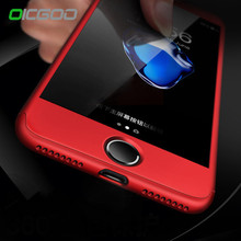 OICGOO Luxury 360 Degree Cases For iPhone 7 6 Case 7 6S Plus With Tempered Glass Red Full Cover For iPhone 6 6s Case Capa Coque