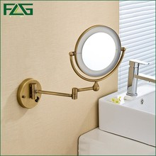 "Antique Brass LED Light Makeup Mirrors 8""Round Dual Sides 3X /1X Mirrors Bathroom Cosmetic Mirror Wall Mount Magnifying Mirror(China)"