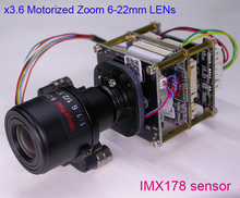 "Motorized Zoom 6-22mm LENs 5.0MP (2592 x 1944) 1/1.8"" SONY IMX178 + Hi3516A IP CCTV camera PCB board module(China)"