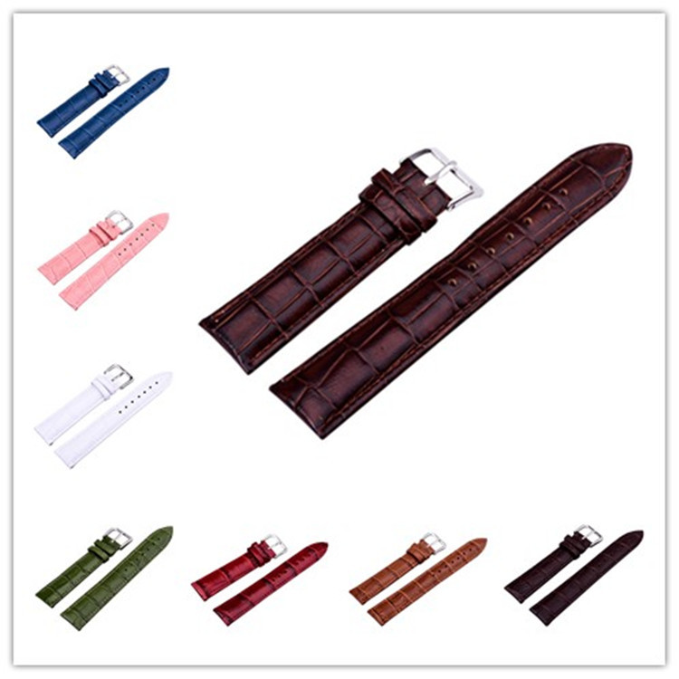 2016 Genuine Leather Watch Band Men &amp; Women Colorful 12-24mm width Watchband Strap Clock 6 color brown white red green pink blue<br><br>Aliexpress
