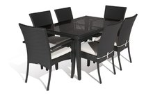 Aluminium outdoor PE rattan economic dining table set(China)