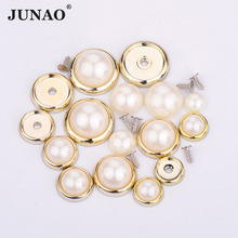 JUNAO 6 8 10 12 14mm Pearls Beads Claw Rhinestones Applique Spikes Studs Round Strass Rivet for Sewing Fabric Leather Clothes(China)