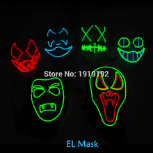 EL wire mask Light Up Neon LED Mask For Halloween tomorrow land scary party cosplay Masks By 3V Steady on Driver(China)