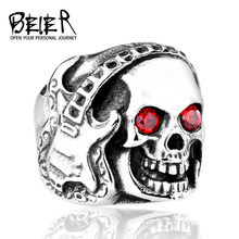 Music Skull Guitar Ring For Man Stainless Steel Rock Jewelry BR8-074 US Size(China)