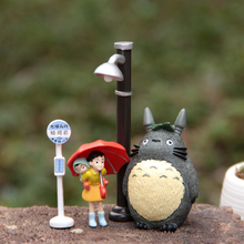 My Neighbor Totoro Umbrella Satsuki Mei Street Lamp Bus Station PVC Action Figure Collection Anime Figures Model Toy 4pcs/lot