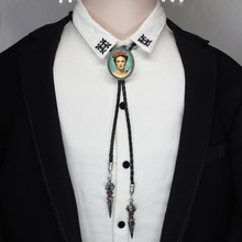 HZSHINLING oval cameo Frida Kahlo Bolo Tie American Western Cowboy Accessory Feminism Artist Glass Photo Jewelry Bolo-ties