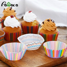 100 PCs Cupcake Baking Cup Paper Cupcake Muffin Boxes Baking Tray Cake Mold Party Cake Stand Decoration Tools Colorful Cake Cup