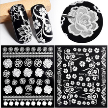Top Quality White Flowers Lace 3d Nail Stickers Decals Self Adhesive DIY Charm Design Manicure Nail Art Decorations(China)