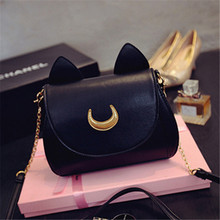 Summer Sailor Moon Ladies Handbag Black Luna Cat Chain Shoulder Bag Leather Women Messenger Crossbody Small Bag animal prints