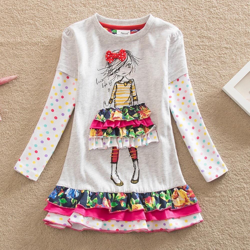 Wholesale 2017 new girls long sleeves dress o-neck Girl Cotton decorative Cartoon Image Lovely Long Sleeve Dress LH3660<br>