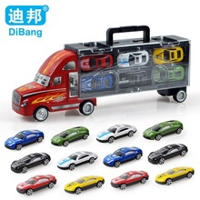 Brand cars toy car alloy car toys 12pcs/set child model  portable container boxes with Christmas gift Free shipping