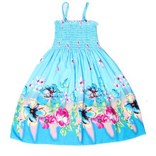2017 new spring summer girl beach dress rainbow flower sling long dress fro baby 2-12 years children party wear clothes