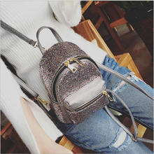 Women Mini Backpack PU Leather Sequins Backpack Children Girls Shoulder Bag Female Small Tote Backpack Bling