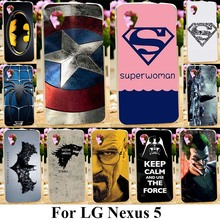 AKABEILA Soft TPU Hard PC Phone Cases For LG Google Nexus 5 E980 D820 4.95 inch Nexus5 D821 Covers Captain American Cover Bag(China)