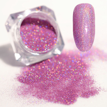Holographic Glitter Pink Purple Laser Powder Ultra-thin Shining Manicure Nail Art Glitter 1.5g(China)