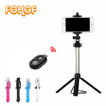 Fghgf Selfie штатив монопод selfie Stick Bluetooth с кнопкой Pau de пало Selfie stick для iPhone 7 8 плюс Android-бар selfie(China)