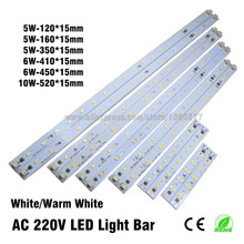 10pcs AC 220v High Brightness LED Light Bar Strip Driverless for T5 T8 Tube, 5w 6w 8w 10w 180-260v SMD 5730 led pcb Light Source