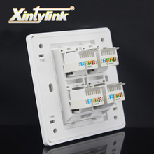 xintylink rj45 jack modular 4 Port cat5e cat6 Keystone Wall Face plate Faceplate toolless rj45 Socket wall socket panel 86mm(China)