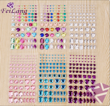Black Friday 78PCS Mix Size Multicolor Acryl Crystal Motif Rhinestones Self Adhesive Flatback Phone And Car Stickers DIY Tools(China)