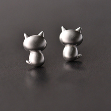 Daisies 925 Sterling Silver Cute kittens Kitty Cat Stud Earrings For Children Girls Baby Kids Jewelry Gifts Pure Pendientes