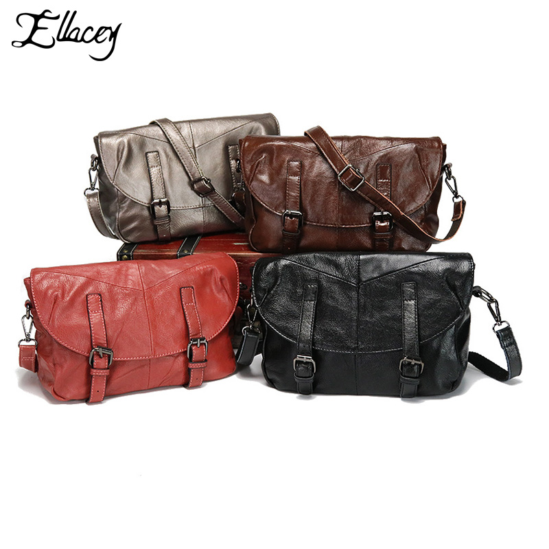 2017 Ladies Genuine Leather Crossbody Bag Retro Designer City Bag Satchels Bag Ladies Contrast Flap Dual Buckled Messenger Bag<br>