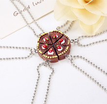 New Arrive 6 Parts Round Happy Birthday Chocolate Cake Best Friends Resin Pendant Necklaces Friendship BFF Jewelry