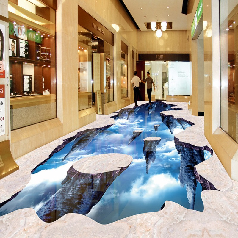 Free shipping custom Hallway Hall Palace outdoor painting 3d floor mural anti-skidding thickened living room wallpaper<br>