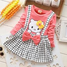 Cute Baby Girls Dress Cotton Children Kids Girls Dresses One Piece Baby Autumn Clothing For Hello Kitty Clothes Girl(China)