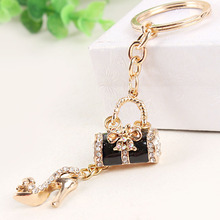 Handbag High-heel Shoe Butterfly Bowknot New Fashion Cute Rhinestone Crystal Purse Key Ring Chain Jewelry Great Gift