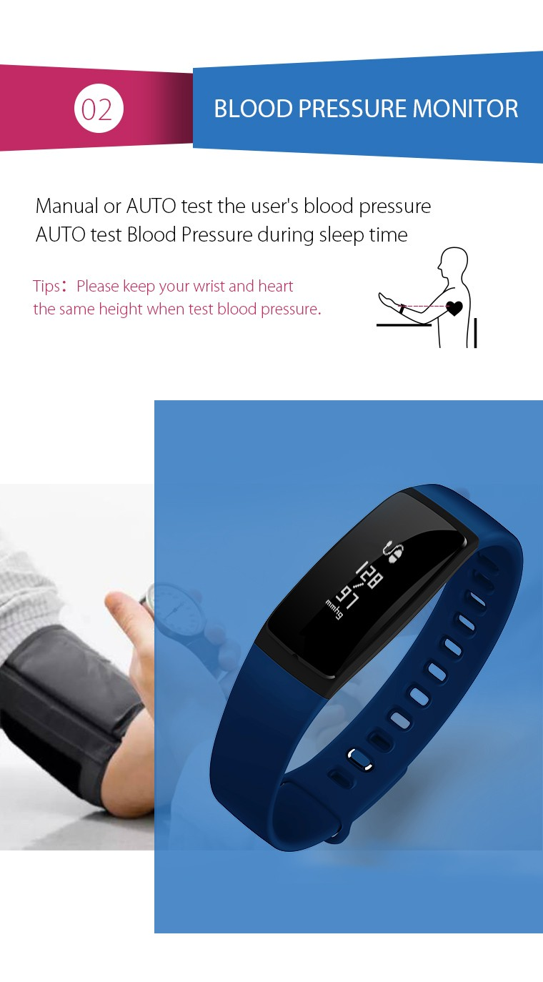 V07 Smart Wristband Band Heart Rate Monitor Blood Pressure Bracelets pedomet Bracelet Fitness Tracker SmartBand For iOS Android 6