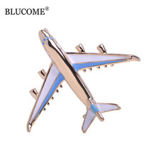 Blucome Cute Little Airplane Brooch Blue Enamel Gold-color Metal Brooches Pin Fighter Aircraft Model Jewelry Suit Clothes Clips