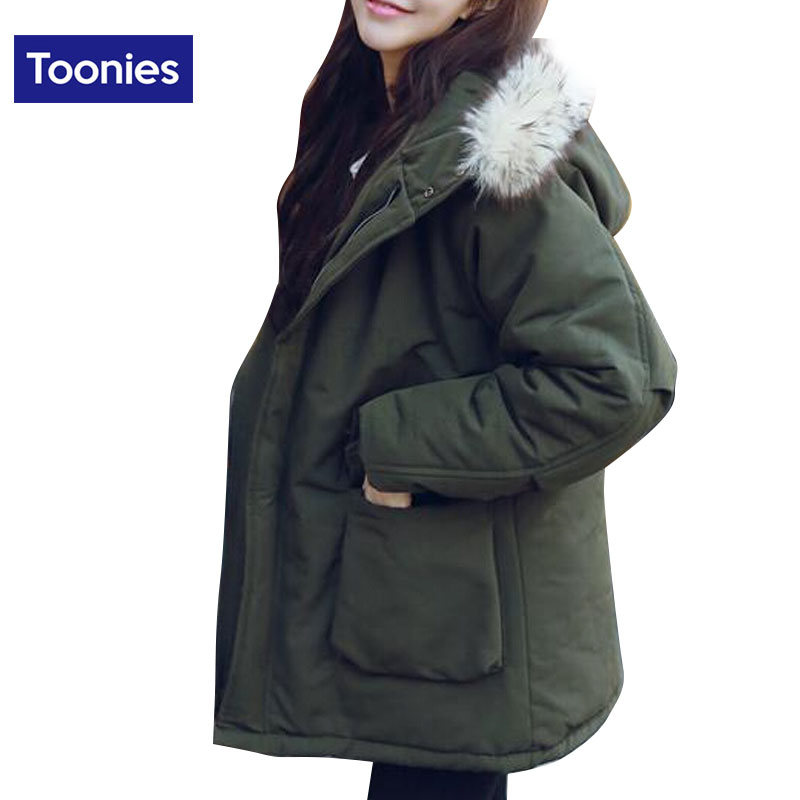 2017 Winter Preppy Style Big Fur Hood Outer Wear Women Coats Army Green Black Jacket Thick Warm Oversized Cotton Padded ParkasОдежда и ак�е��уары<br><br><br>Aliexpress