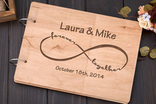 personalized Infinity alternative Rustic wedding guest album book engraved Wooden guestbooks Reception party decorations