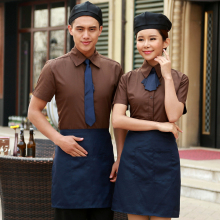 Waiters work clothes set hotel catering fast food coffee shop blue uniforms west bar workwear+apron sales free shipping workwear