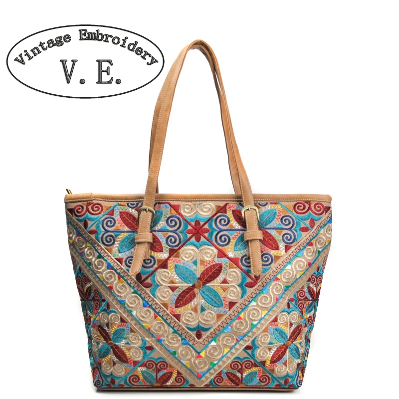 Vintage Embroidery Leather Women Handbag Colorful Pu leather Patchwork Shoulder Bag Vintage Flowers Women Crossbody Bag Bolsa<br>
