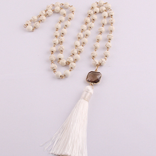 Fashion 8mm white Natural Semi Precious Stones with gold square crystal Tassel charm Pendant Handmade Necklace Women Jewelry(China)